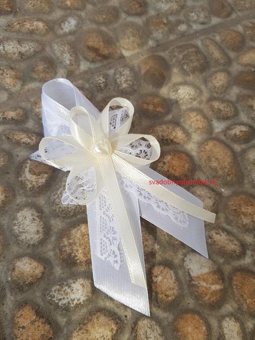 c705fe8e9 Svadobné pierko pre svedkov,rodičov biela + smotanová + biela krajka +  srdiečko